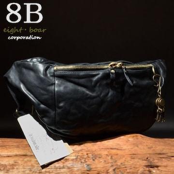 ◆Rock Lether 牛本革 半月型 中型ボディーバッグ◆黒b18