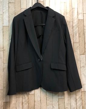 新品☆15号機能性ストレッチ素材テーラードジャケット黒☆s884
