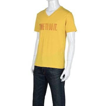 GU ジーユー グラフィックT 半袖Tシャツ ロゴ イエロー M