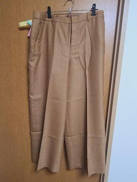 INDIVI昨季美品キャメルハベージュウール混センタープレスワイドパンツ大きいサイズ15号