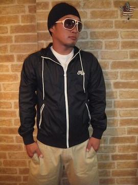 【NIKE】セパレートジップ「AIR」立体刺繍ナイロンジャケットパーカー黒白S♪ナイキ