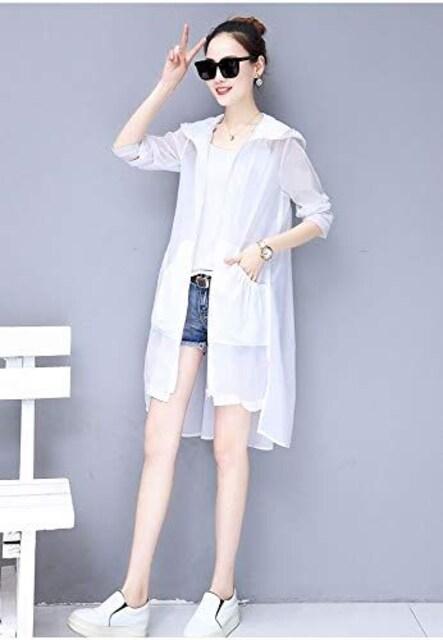 日焼け対策!! フード付きロングカーディガン(S寸・白) < 女性ファッションの