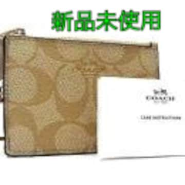 新品 COACH シグネチャー PVC×レザー パスケース・カードケース