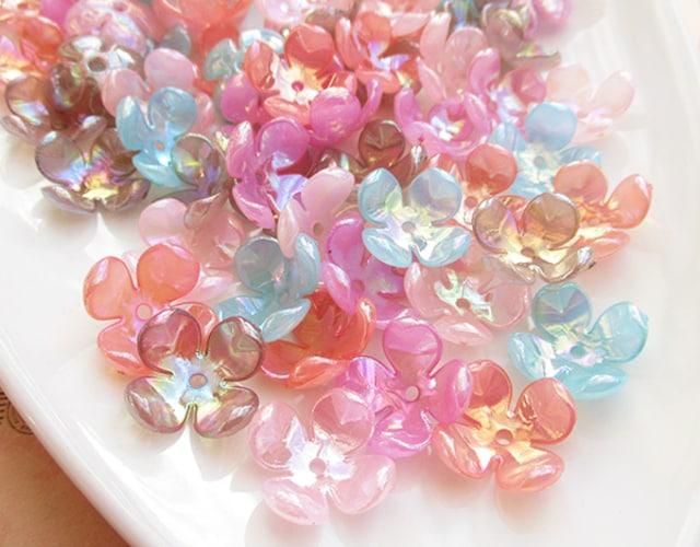 四弁花ビーズ70個オーロラ
