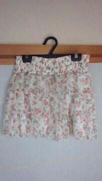 LD Prime ヒラミニ 38 ミニスカート 白×花柄 エルディープライム N2m