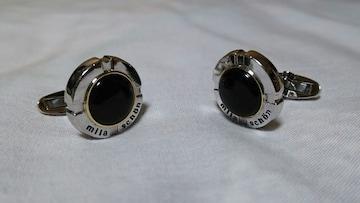 正規 ミラショーン ロゴ文字ドーム型カフス黒 ブラックストーン×シルバー オーバルカフリンクス