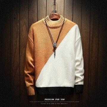 斜めツートンカラー ブラウンホワイト セーター