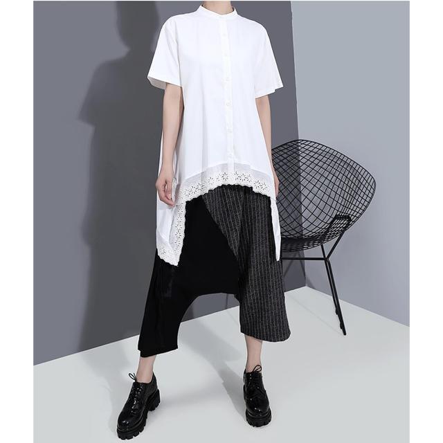 シャツブラウス レース切り替え ホワイト 半袖 大きいサイズ < 女性ファッションの
