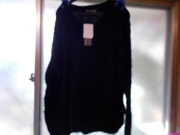 Vネックセーター黒3L新品