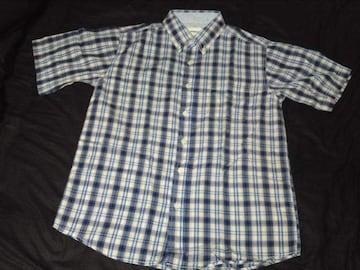 青チェックシャツ M