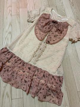 B688/axes femme/ピンク×クリーム/リボン付き/ミニワンピ/