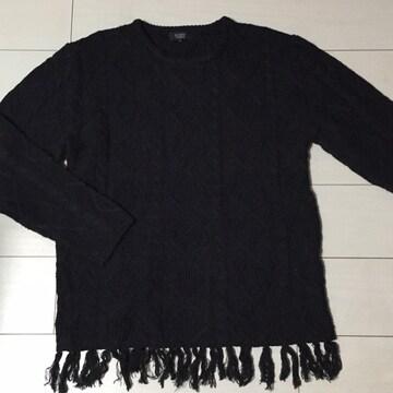 黒☆ブラック☆ニット☆セーター☆長袖カットソー☆M