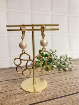 ...handmade earring/パール×幾何学型...