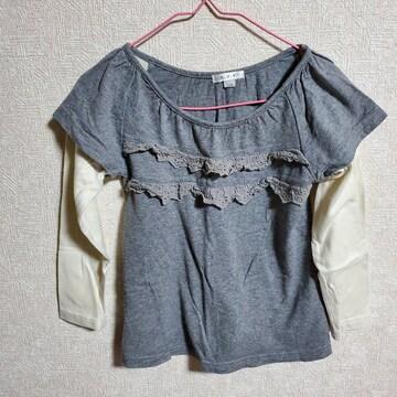 グレーに白袖、胸元レースの長袖Tシャツ110