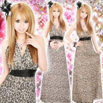 《New》キャバ嬢★Sexy&ゴージャス*ヒョウ柄(レオパード)ロングドレス<ピンク>