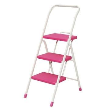 折りたたみステップ 3段 ピンク