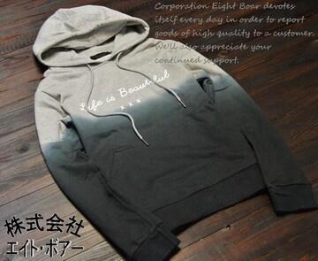 ★INFLATION グラデーション染め プリントパーカー★黒/2size