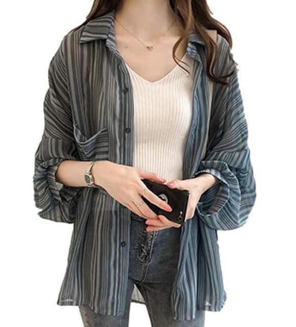 ゆったり ランタンスリーブ カーディガン(XL寸.ブルー)  < 女性ファッションの