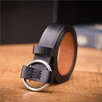 新品【ブラック 110cm】 本革 リングベルト メンズ レディース