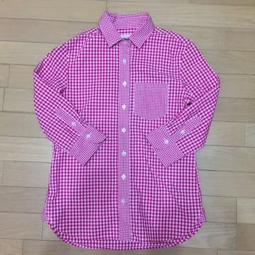 31 Sons de mode 濃ピンクの7分袖チェックシャツ