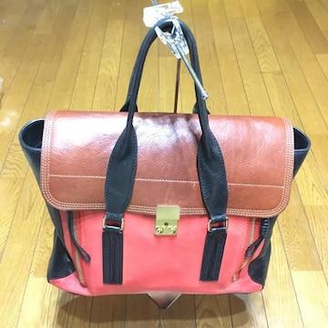 3.1 フィリップリム 3色 レザートートバッグ 黒×茶×サーモン