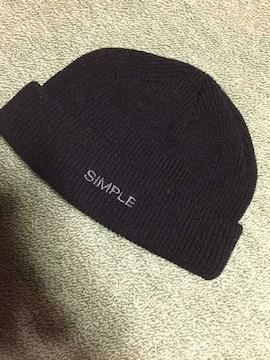 SIMPLE 黒ニット帽