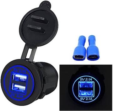 青 BlueFire USBカーチャージャー 急速充電 2.1A電源ライン 配線