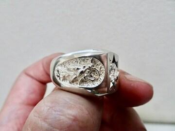 仁尾彫金『一つ星ジルコニア双龍印台リング』ハンドメイド179