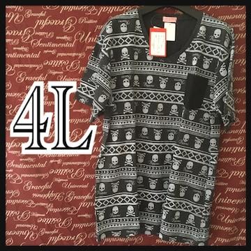 4L・ドクロ総柄Tシャツ新品/MCE-004