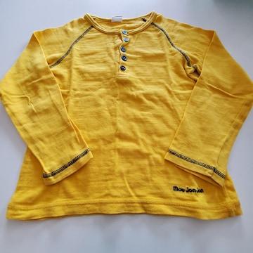 黄色無地、前ボタン長袖Tシャツ120