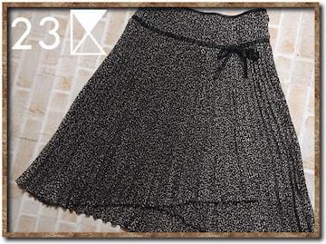 23区 DEUX リボン付きプリーツスカート 黒