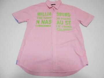 衣類 メンズ Lサイズ 半袖シャツ チェック柄 ピンク