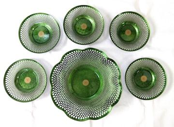七宝 盛皿 茶托揃   透かしの入った盛皿1枚・茶托揃5枚セット