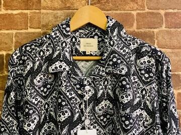 表記M/新品!レーヨン100% 総柄 オープンカラーシャツ ペイズリー柄シャツ ヒッピー サーフ