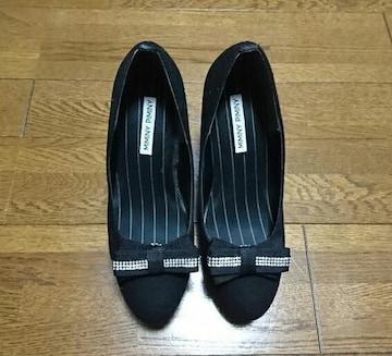 リボンクリップ付きシンプルプレーンパンプス/Sサイズ/黒