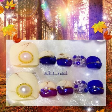ジェルネイルチップ☆付け爪〜ブルー×ベージュ大理石柄