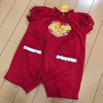 新品◆苺ショートオール◆ロンパース◆半袖パフスリーブ◆80赤