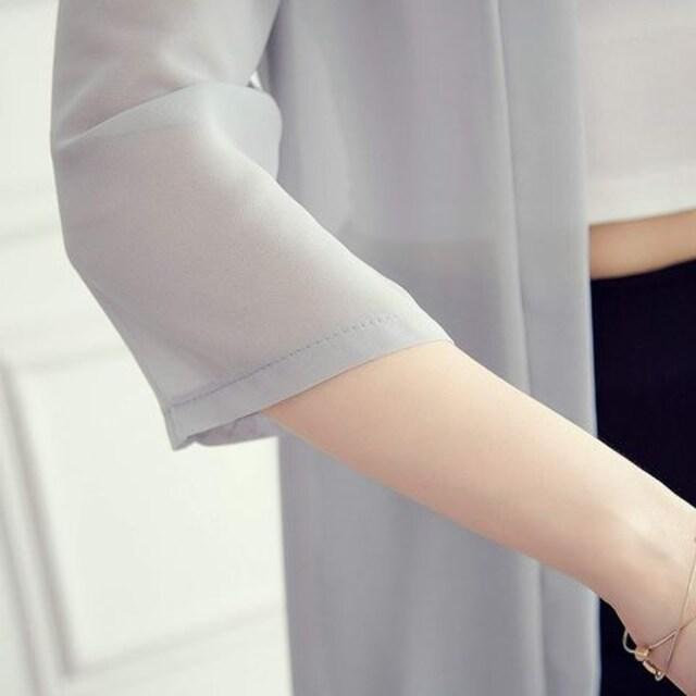 日焼け&冷房 対策★シースルー★7分袖カーデガン (黒) < 女性ファッションの