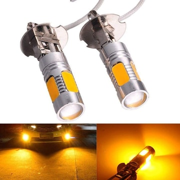 黄 H3 h3 led フォグ LEDフォグランプ H3 黄色 霧灯 アンバー オ