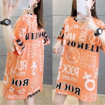 3L4L/新品☆英字落書き風Tシャツ/橙47