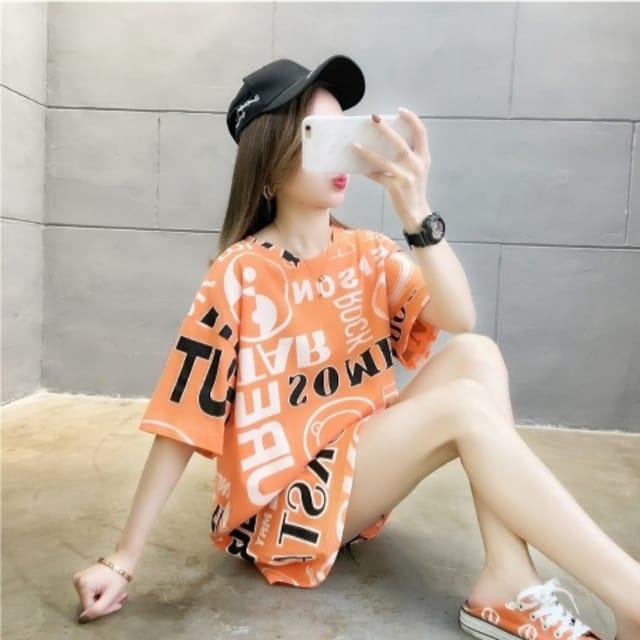3L4L/新品☆英字落書き風Tシャツ/橙47 < 女性ファッションの