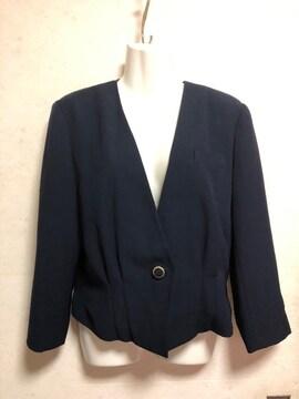 レトロウエストタックノーカラージャケット紺色ネイビー日本製