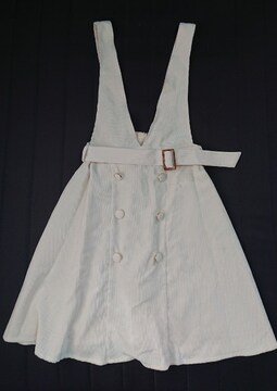 タグ付きコーデュロイジャンパースカート《オフホワイト》