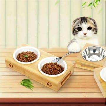 ペット用 フードスタンド 木製 陶器皿付き