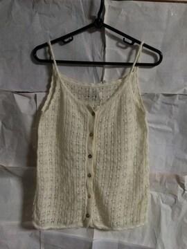 編み編みレース トップス キャミソール 訳あり オフホワイト