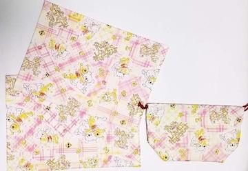 40 ◆ぷーさん ランチョンマット2枚&巾着 (^o^)3点set ハンドメイド