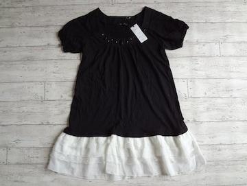新品 SKY BOMBER ビジュー 裾シフォン 黒 Tシャツ