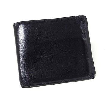 【イヴ・サンローラン】コインポケット付き折り財布 ブラ
