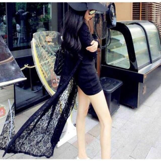 BIGセール1690円★超新作 花柄 薄手 カーデ  UVカット 黒  < 女性ファッションの
