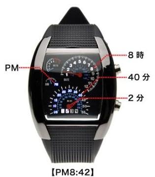 ★送料無料★スピードメーター 腕時計 LEDデジタルウォッチ 時計